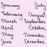 Dias de nomes tirados mão do mês Imagem de Stock