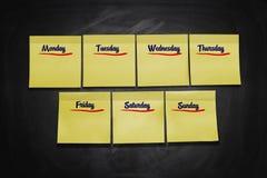 Dias de notas da vara da semana fotos de stock