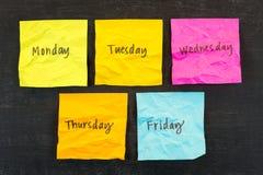 Dias de notas pegajosas da semana Foto de Stock Royalty Free