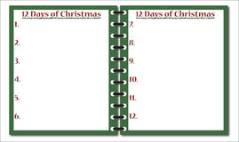 12 dias do bloco de notas do Natal ilustração stock
