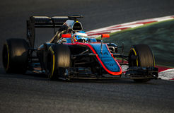 DIAS DO TESTE DO FÓRMULA 1 - FERNANDO ALONSO Foto de Stock Royalty Free