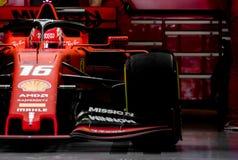 Dias 2019 do teste do Fórmula 1 - Charles Leclerc fotografia de stock