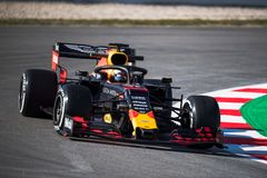 Dias 2019 do teste do Fórmula 1 - Max Verstappen fotos de stock royalty free