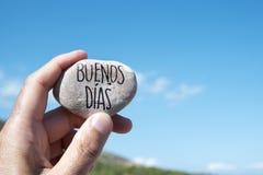Dias dos buenos do texto, bom dia no espanhol imagens de stock royalty free