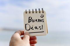 Dias dos buenos do texto, bom dia no espanhol imagem de stock