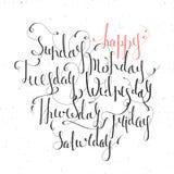 Dias escritos à mão da semana Imagem de Stock