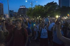 Diaspora protest in Bucharest against the government. stock photo