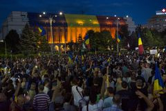 Diaspora protest in Bucharest against the government. royalty free stock photo