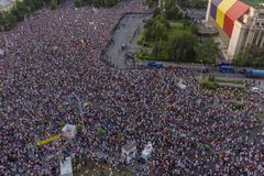 Diaspora protest in Bucharest against the government. Stock Photography