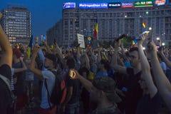 Diasporaprotest i Bucharest mot regeringen Royaltyfri Fotografi