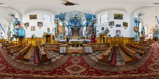 DIATLOVO, BELARUS - NOVEMBER 1, 2015: Panorama interior beautiful catholic church . Full spherical 360 by 180 degrees seamless stock images