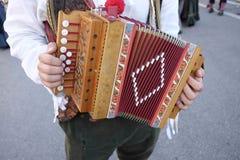 Diatonic accordion. In the street Royalty Free Stock Photo