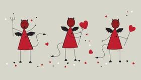 Diavoli della scheda con cuore Fotografie Stock
