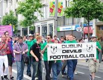 Diavoli FC di Dublino. Festival 2010 di orgoglio di Dublino LGBTQ Fotografie Stock Libere da Diritti