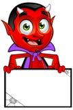Diavolo del fumetto - tenere bordo in bianco illustrazione di stock