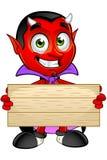 Diavolo del fumetto - tenere segno di legno illustrazione vettoriale