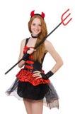 Diavolo della donna con il tridente Fotografia Stock Libera da Diritti