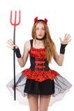 Diavolo della donna con il tridente Immagine Stock