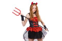 Diavolo della donna con il tridente Fotografia Stock