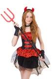 Diavolo della donna con il tridente Fotografie Stock Libere da Diritti