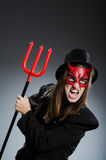 Diavolo divertente nel concetto di Halloween Fotografia Stock