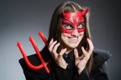 Diavolo divertente nel concetto di Halloween Fotografia Stock Libera da Diritti