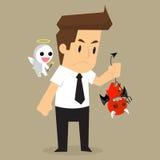 Diavolo ed angelo della spalla dell'uomo d'affari immagini stock