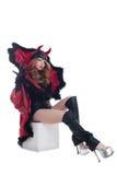 Diavolo femminile seducente, isolato su bianco fotografia stock libera da diritti