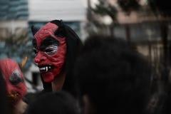 diavolo rosso il giorno di Halloween, di estate fotografia stock