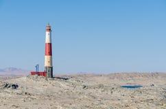 Diaz punkt z czerwoną i białą latarnią morską na Luderitz półwysepie w Namib pustyni, Namibia, afryka poludniowa Obraz Stock