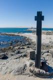 Diaz punkt z kamienia krzyżem na Luderitz półwysepie w Namib pustyni, Namibia, afryka poludniowa Fotografia Royalty Free