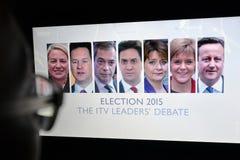 Dibattito BRITANNICO di elezione TV Immagini Stock