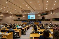 Dibattito pubblico al Parlamento Europeo a Bruxelles fotografia stock