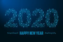 2020 New Year illustration made by points and lines, polygonal wireframe mesh on night sky royalty free stock photos