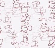 Dibujado en las tazas y los potes de un fondo del blanco Foto de archivo libre de regalías