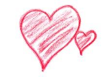 Dibuje con creyón los corazones Imagen de archivo