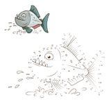 Dibuje el vector educativo del juego de la piraña animal stock de ilustración