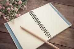 Dibuje a lápiz con el libro en la tabla de madera, estilo del vintage Imagen de archivo libre de regalías