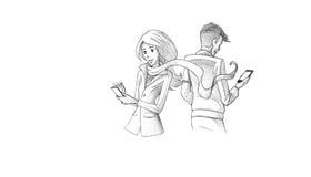 Dibuje a lápiz el ejemplo, dibujo de los pares jovenes que mandan un SMS en el teléfono Imagenes de archivo
