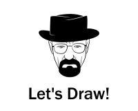 Dibujemos al hombre en un sombrero con la barba Fotografía de archivo libre de regalías
