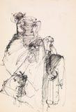 Dibujo abstracto de la tinta ilustración del vector