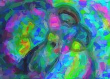 Dibujo abstracto de puntos del color - la mariposa del vuelo imagen de archivo libre de regalías