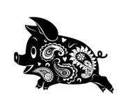 Dibujo abstracto de un cerdo corriente Ornamento Foto de archivo