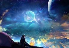 Dibujo abstracto de un hombre que mira un cielo colorido stock de ilustración