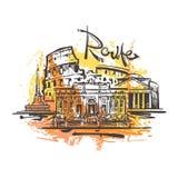 Dibujo abstracto del color de Roma Vector del bosquejo de Roma ilustración del vector