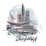 Dibujo abstracto del color de Shenzhen Ejemplo del vector del bosquejo de Shenzhen libre illustration