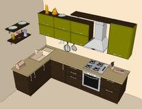 Dibujo abstracto del interior de la esquina moderno verde y marrón de la cocina Fotografía de archivo