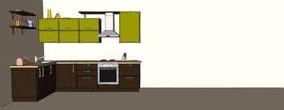Dibujo abstracto del interior de la esquina moderno verde y marrón de la cocina Fotos de archivo libres de regalías