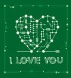 Dibujo abstracto en corazón de la forma con los elementos ordenador y placa madre Fotos de archivo