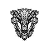 Dibujo aislado blanco y negro del vector del tejón/de la cabeza del brock stock de ilustración